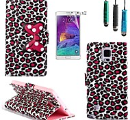 Leopard Bow Pattern PU Leather with Touch Pen and Protective Film 2 Pcs for Samsung Galaxy Note 4