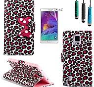 motif léopard arc PU cuir avec stylet et film de protection 2 pièces pour Samsung Galaxy Note 4