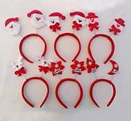 Christmas Red Flush Snowflake Snowman Headband (5pcs)(Random Decorations)