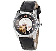Frauen automatische Selbstwind hohle Herz Wahllederarmband Armbanduhr (farbig sortiert)