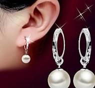 925 Pearl Flower Drop Earrings