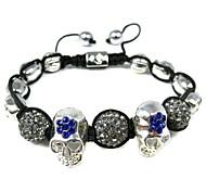Rainso® Adjustable Shamballa Bracelet with  Alloy Diamond Skull Beads and Alloy Beads