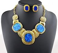 Damenmode zu übertreiben Luxus-Edelstein-Schmuck-Set (Halskette&Ohrringe, mehr Farben)
