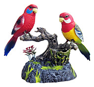 Simulation Couple Parrot Voice-Control with Pen Holder and Drawer Toys(Red)