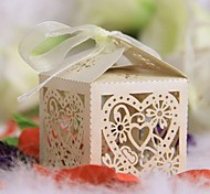 12pcs Love Heart Laser Cut Gift Candy Boxes with Ribbon Wedding Party Decorations