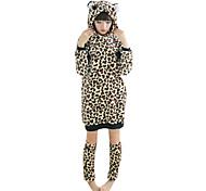 pijamas Kigurumi feroces africanos franela leopardo de la mujer con las piernas más caliente (para la altura 150-170cm)