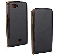Flip-Open Solid Color Pattern Genuine Leather Full Body Case for Wiko Rainbow