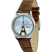 presente do dia relógio cidadão eiffel movimento torre de aço caixa marrom cinto de couro genuíno das mulheres da mãe personalizado