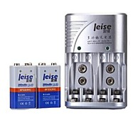 Leise® Battery Charger for 2pcs AA/AAA 9V Ni-MH/ Ni-Cd Rechargeable Batteries(Included 2 Batteries)