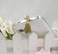 Fashion Delicate Born Nameplate Shape Alloy Diamante Anti-dust Plug for Universal Mobile Phone