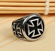 Men's Europe Personality Cross Titanium Steel Ring