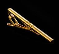 Simple Men Necktie Golden Tone Metal Clamp Tie Clip Clasp Bar Wedding Business