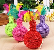 Vase Shaped Sisal Toys with Colourful Feather Decorated for Pet Dogs Cats(Random Colour)