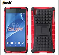 Hybrid TPU+PC Kick Stand Phone Case Covers Shell Cover for Sony Z2 (Assorted Colors)