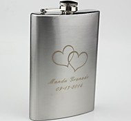 Personalized Stainless Steel 9-oz  Hip Flask Heart