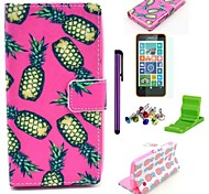 Pink Pineapple Pattern PU Leather Case with Screen Protector,Stylus, Dust Plug and Stand for Nokia Lumia N630