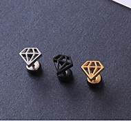 European Pyramid Steel Stud Earrings(Black,Gold,Silver) (1 Pc)