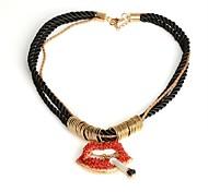 модные губы сигарету полон Cystal кулон позолочены богемный длинное ожерелье