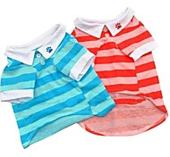 Pet Dog Stripe Polo T-shirt Summer Apparel for Pet Dogs (Assorted Colors and Sizes)