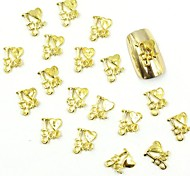 100PCS 3D Gold Nail Jewelry Silver Love for False Acrylic Molds Nail Art Decorations