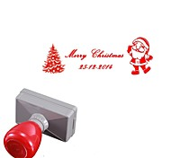 Personalized 33x63mm Christmas Santa Claus Tree Style 2 Lines Rectangle Engraved Photosensitive Signet Stamp(14 Letters)