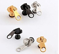 European Zipper Head   Titanium Steel Stud Earrings(Black,Silver,Gold) (1 Pc)