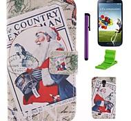 modelo de santa claus la caja de cuero de la PU con el protector de pantalla y el stylus para i9500 Samsung Galaxy S4