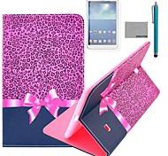 Coco Fun® patrón de leopardo púrpura del caso del soporte del tirón del cuero de la PU con el cine y la aguja para el samsung galaxy tab 4 t330
