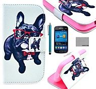 COCO FUN® Glasses Dog Pattern PU Leather Case with Screen Protector and Stylus for Samsung Galaxy Trend Lite 7390/7392