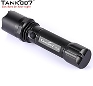 TANK007 TC19 Rechargeable 3-Mode Cree XR-E Q5  High Power Camping LED Flashlight (220LM,1x18650, Black)