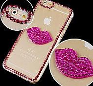 Red Crystal Lip Prints Pattern Hard Back Case for iPhone 6 Plus