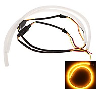 2*60cm LED Car Daytime Running Light Strip Tube Style DRL Driving Lamp White+Yellow Light 12V