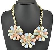 moda três flor jóia colar