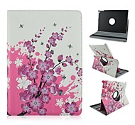 HHMM 360 Degree Rotation Peach Blossom Pattern PU Cases with Stand Auto Sleep/Wake Up for iPad Air 2/iPad 6