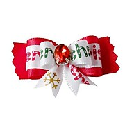 Christmas Series Lovely Snowflake Pattern Ribbon Style with Rhinestone  Decorated Rubber Band Hair Bow for Pet Dogs