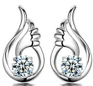 925 Sterling Silver Angel Wings Earrings