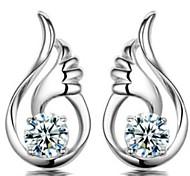 925 alas de ángel pendientes de plata
