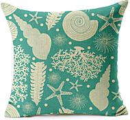 Sea Shells Pattern Cotton/Linen Decorative Pillow Cover