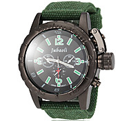 Men's Black Dial Fabric Band Quartz Wrist Watch (Assorted Colors)