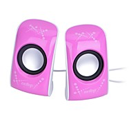 6W Mini USB Powered Stereo Speaker with 3.5mm Jack - Pink