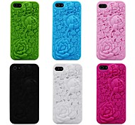 Para Funda iPhone 5 En Relieve Funda Cubierta Trasera Funda Flor Suave Silicona iPhone SE/5s/5