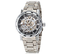 Men's Elegant Skeleton Hollow Dial Silver Steel Band Mechanical Hand Wind Wrist Watch (Assorted Colors) Cool Watch Unique Watch