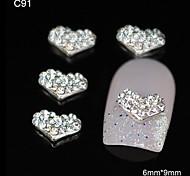10pcs Rhinestone Heart DIY Alloy Accessories Nail Art Decoration