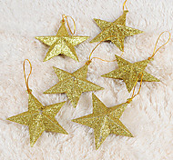 Set Of 6 Christmas Ornaments Golden Five-pointed Star ,Plastic