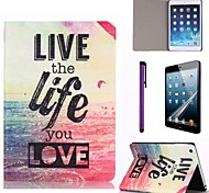 Live Life Sea Pattern PU Leather Case with Screen Protector and Stylus for iPad mini 1/2/3