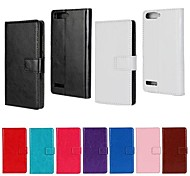 Solid Color PU Leather Full Body Case with Stand and Card Slot for Huawei Ascend G6 (Assorted Color)