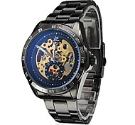 Men's Skeleton Style Black Steel Auto Mechanical Wrist Watch