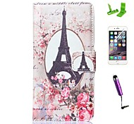 Rose Flowr Tower Pattern PU Leather Case with Screen Protector and Stylus for iPhone 6