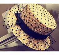 Women Chiffon Straw Hat , Vintage/Cute Summer