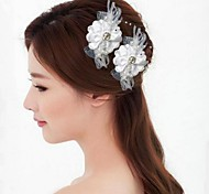Fashion 8.5cm Women's White Alloy Fabric Flower U-shaped Hair Sticks for Wedding(White)(2Pcs)